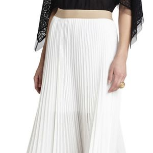 NWT BCBGMAXAZRIA White Pleated Maxi Skirt